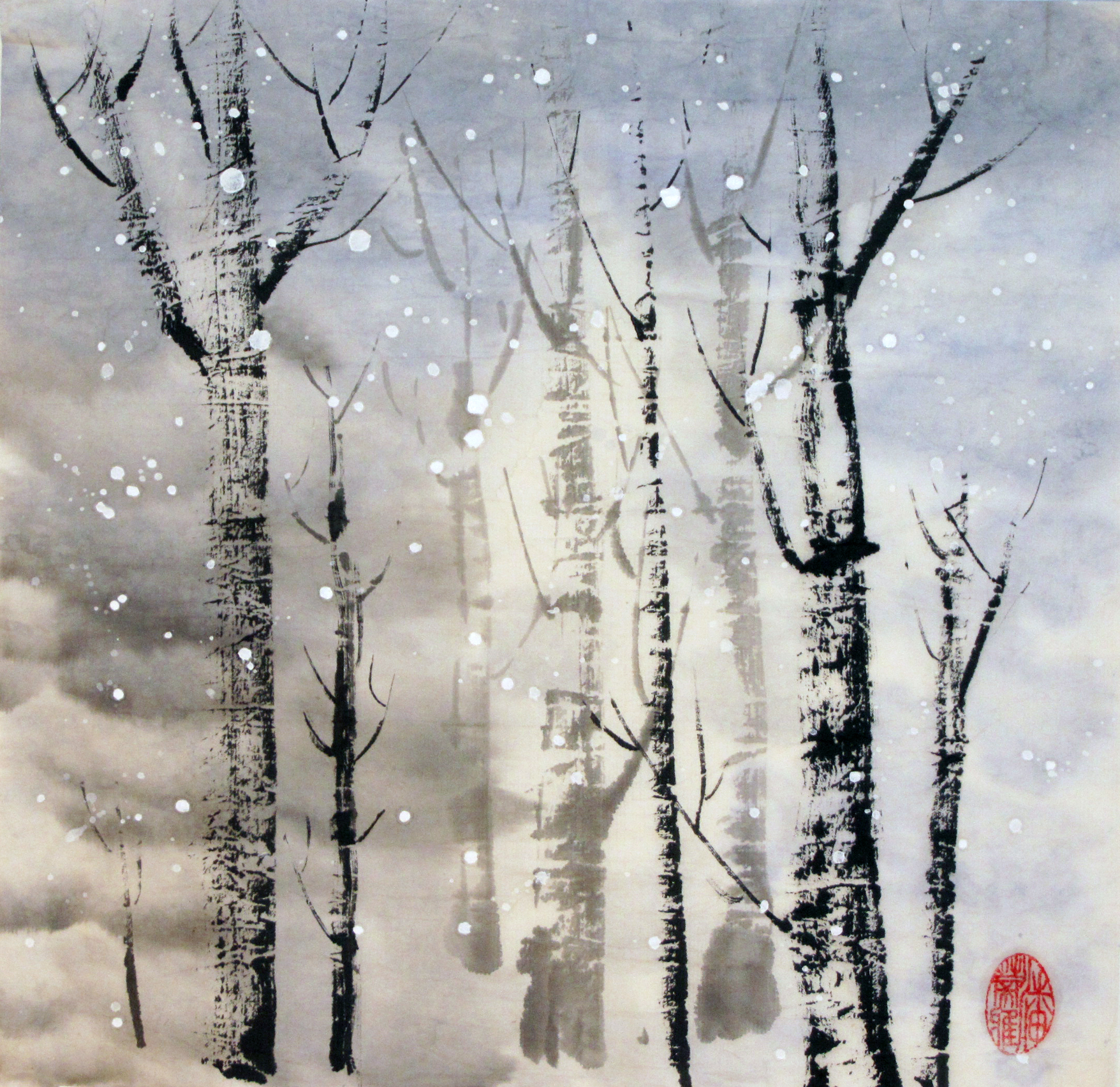 Snow Whispers Among the Birches